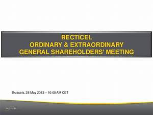RECTICEL Annual General Meeting of Shareholders (28 May 2013)