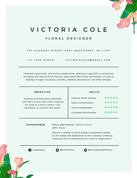 charming floral designer resume canva college
