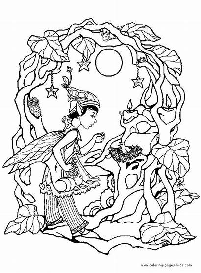 Coloring Adults Pages Elves Fantasy Medieval Elf
