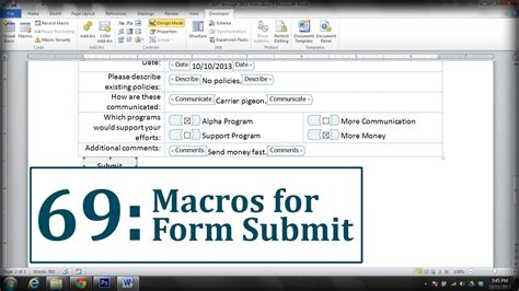 microsoft word create a submit form button