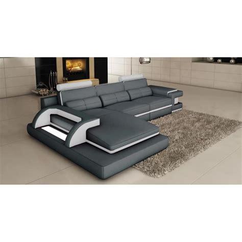 canape d angle cuir gris canapé d 39 angle cuir gris et blanc design avec lumière