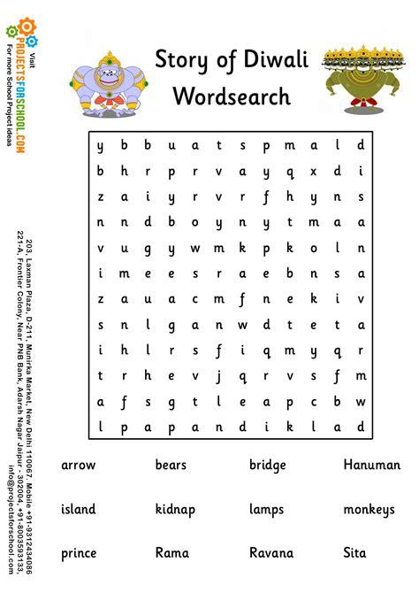 kids science projects story  diwali wordsearch