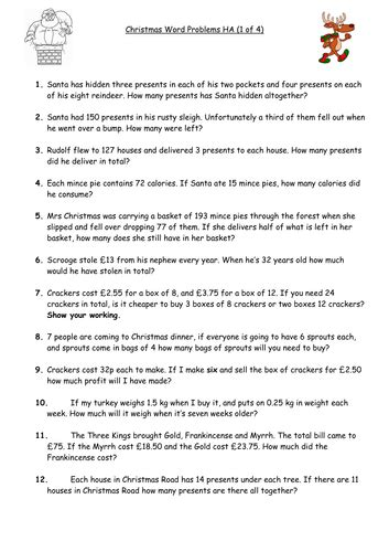 christmas maths word problems differentiated  ways