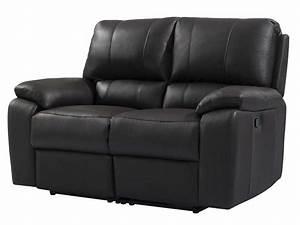 Canapé fixe relaxation manuel 2 places en cuir VICKY coloris noir Vente de Canapé droit