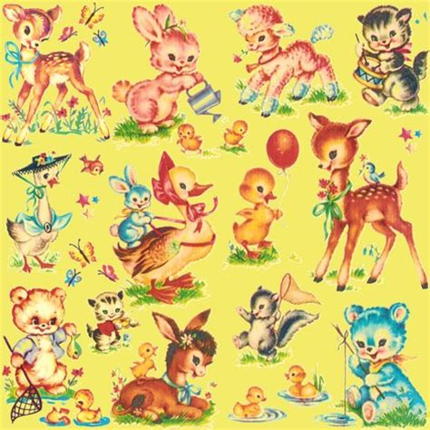 Vintage Animal Wallpaper - favorite vintage baby animals bebe lt lime fabric