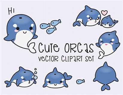 Kawaii Clipart Vector Premium Orcas Vectors Clip