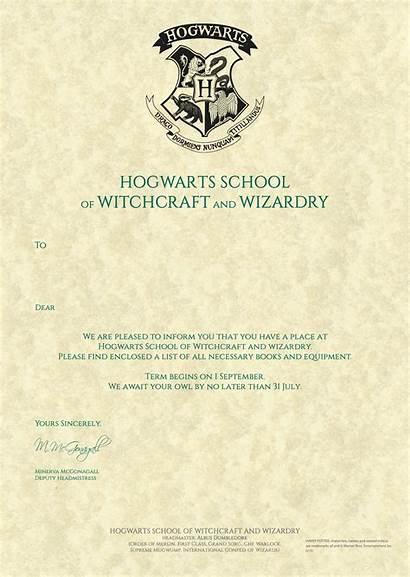 Hogwarts Letter Potter Harry Acceptance Templates Template