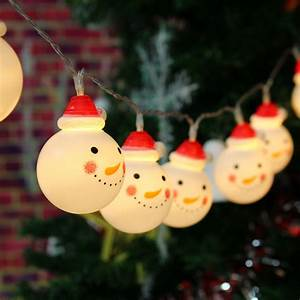 Christmas, Snowman, String, Lights, 10, Led, 47inch, Battery