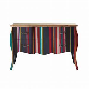 Commode 120 Cm : commode rayures en bois multicolore l 120 cm n on maisons du monde ~ Teatrodelosmanantiales.com Idées de Décoration
