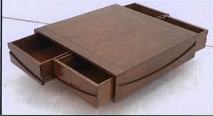 Table Basse Bois Foncé : table basse de salon avec rangement wakae ~ Teatrodelosmanantiales.com Idées de Décoration