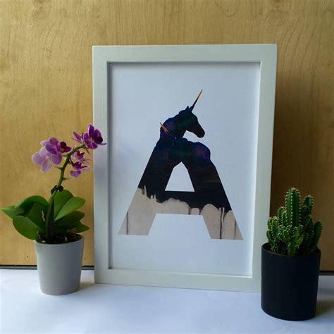 ombre unicorn alphabet letter initial print  meru art