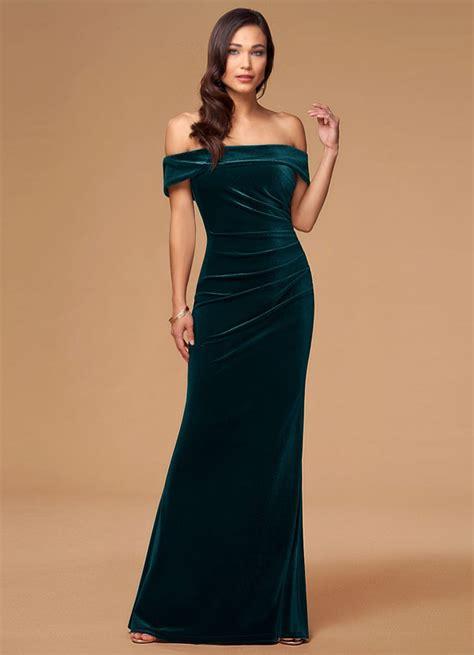 blush mark sweet  dark green velvet maxi dress