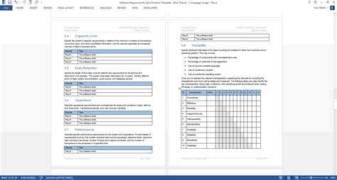 Template For Word by Software Requirements Specification Ms Word Template