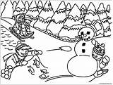 Playing Winter Pages Coloring sketch template