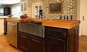 Oak Wood Kitchen Island Counter in Bryn Mawr, Pennsylvania