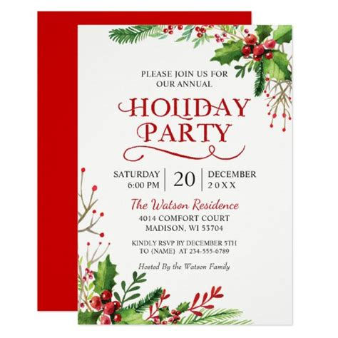 Christmas Holly Berries Rustic Chic Holiday Party