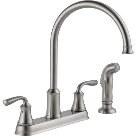 gooseneck kitchen faucet shop delta lorain stainless 2 handle deck mount high arc