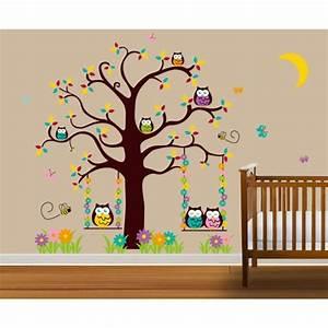 Stickers Arbre Chambre Bébé : stickers muraux enfant l 39 arbre de hibou achat vente ~ Melissatoandfro.com Idées de Décoration