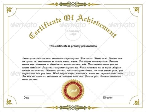 fabulous achievement certificate templates word psd