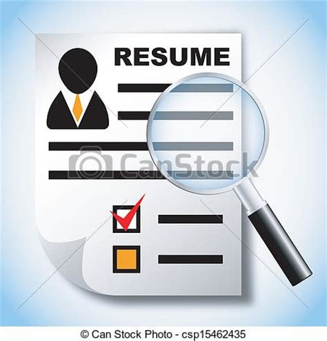 vectors of resume and magnifying glass human resource