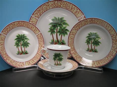 20 Pc PALM TREE Dinnerware plate dishes.TROPICAL NEW Decor