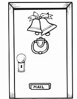 Door Christmas Coloring Pages Printable Open Doors Decorations Decorated Template Closed Ornaments Window Comments 894px 86kb sketch template