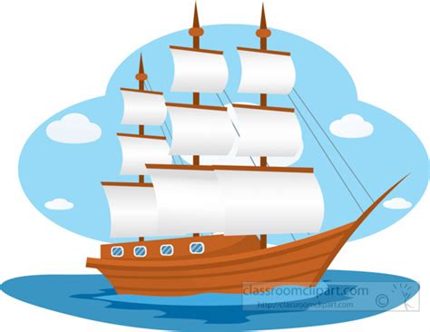 Clipart Boats And Ships by Boats And Ships Clipart Large Wooden Sailboat Sails Open