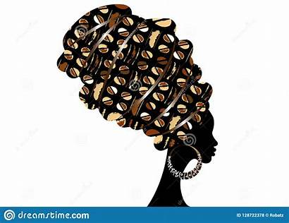Vector Illustrations Head Woman Wrap African Silhouette