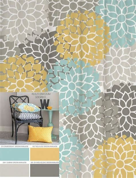 blue yellow curtains black and shower curtain trend of curtains