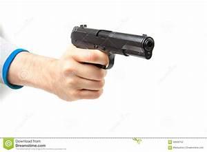 Man's Hand Holding Gun, Isolated On White Stock Photo ...