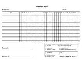 Blank Monthly Attendance Sheet Printable