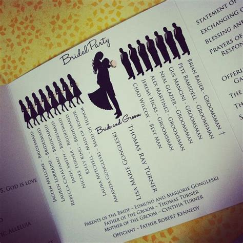 wedding programs with bridal party silhouettes weddingbee