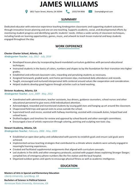 kindergarten resume sle resumelift