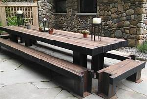 OUTDOOR TABLE AND BENCH SET Grand Wood
