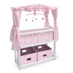 badger basket canopy doll crib with shelf two baskets