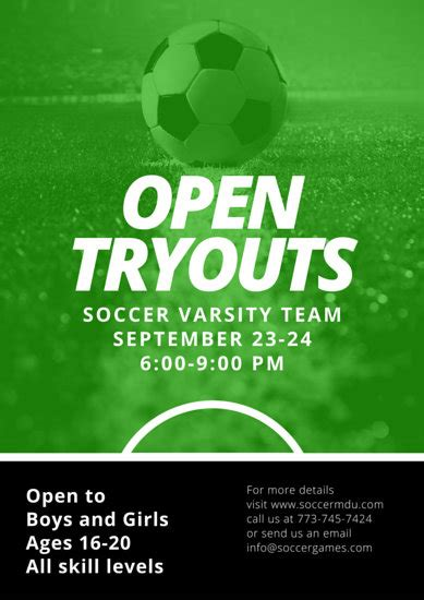 soccer open tryouts poster templates  canva