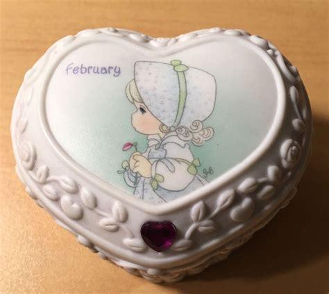 Precious Moments Heart Shaped February Birthstone Trinket