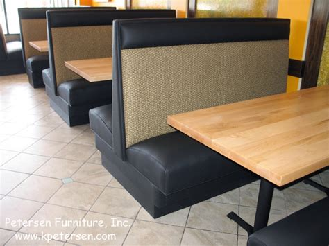high back plain back restaurant booth with maple tables