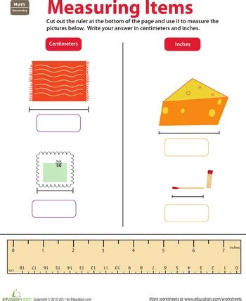 measurement worksheets grade 3 inches centimeters