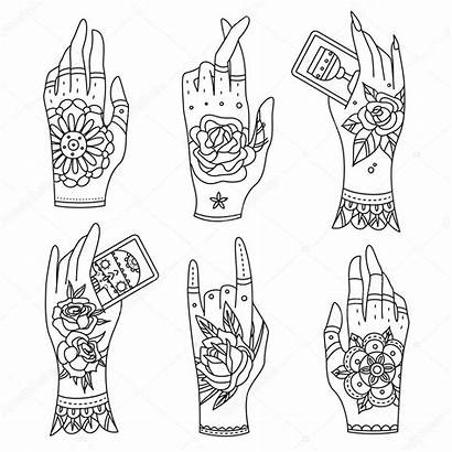 Tattoo Hands Illustration Pages Vector Adult Coloring