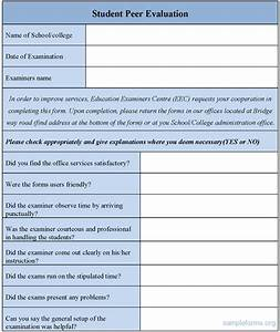 Student Peer Evaluation Form : Sample Forms