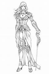 Coloring Adult Female Character Armor Costume Pages Widermann Eva Fantasy Drawings Drawing Swordswoman Designs Characters Concept Behance Books Woman Sketches sketch template