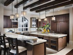 Kitchens With Two Islands Medium Sized Kitchen With Two Islands One Island Is 2 Levels For An Elevated Eat In Counter