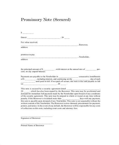 sample promissory note templates  google docs