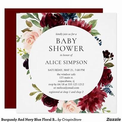 Shower Burgundy Bridal Invitation Zazzle Invitations Navy
