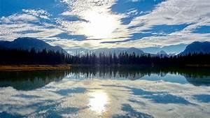 sunny, lake, reflections, wallpapers