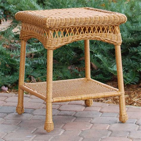 wicker patio end tables tortuga outdoor portside wicker side table wickercentral com
