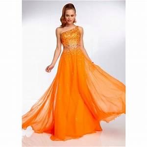 Elegant e Shoulder Long Neon Orange Chiffon Beaded Prom
