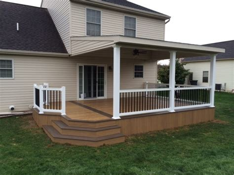 lean to roof two toned clubhouse deck modern deck