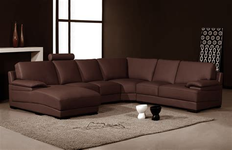 2227 modern brown leather sectional sofa
